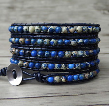 Natural Blue Sea Sediment Jasper Gemstone Beaded Stacking Wrap Bracelet Leather
