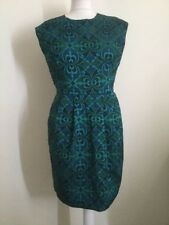 Warehouse Green/Blue Brocade Shift Dress Size 12 Excellent Condition