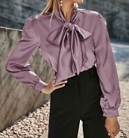 Tie Neck Puff Sleeve Button Cuff Long Sleeve Elegant Satin Blouse Top Casual