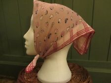 Ladies Vintage Pink Head Scarf With Fruit Pattern