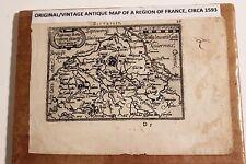 Antique Original Abraham Ortelius Map BITURIGES (Region in France) circa 1593