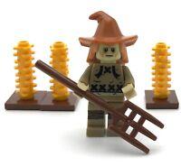 New Lego Minifigure Hair Hat Combo Scarecrow Dark Orange Floppy Hat 76054