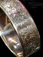 Vtg Sterling Silver Leaves & Swirls Engraved Wide BRACELET/Bangle. HMd 1945.