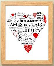 Personalised Word Red Wedding Anniversary Heart Framed 10x8 Print Gift Keepsake