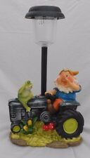 "Happy Garden Gnome On Tractor w/ Frog, Solar Power Lawn Light, 13.5"" Tall"
