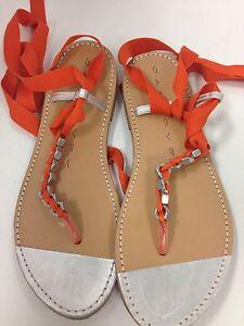 Gancovek Sandle Orange Roman Ties Silver Toe Size 40 New