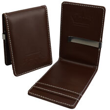 Mens Money Clip - Slim Wallet - Brown Faux Leather Silver Steel Card Cash Holder