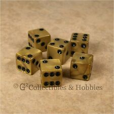 New 6 Olympic Gold Black D6 Dice Set D&D RPG Game Die 16mm 5/8 inch