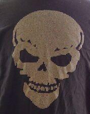 Skull T-Shirt Textured Black Cotton Halloween Short Sleeve