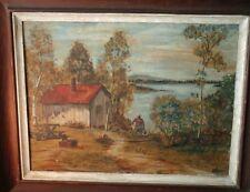 Vintage Regional Landscape Waterside Painting Singed WEIRI