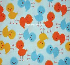 1YD Chickens CHICKS URBAN ZOOLOGIE Nursery Birds Spring Baby Blue Kaufman Fabric