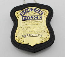 US Boston badge and leather holder with chain