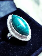 malachite sterling silver sf cabochon ring size 9 us