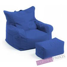 Pouf Bleu Poire Pas cher Chaise Fauteil + Repose-pieds Fauteuil Jardin Sièges