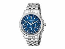 New! Authentic Mens CITIZEN Eco Drive Calendrier Watch Blue Dial BU2021-51L