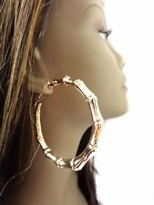 ROUND GOLD BAMBOO HOOP EARRINGS 3 INCH BRASS SHINY HOOP EARRINGS FULL