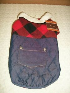 Dog Jacket ~ Red Plaid Flannel / Blue Denim ~ with Pocket ~ Size Small