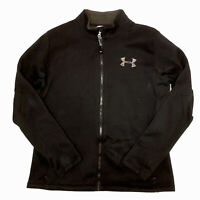Under Armour Womens UA Black Semi Fitted Full Zip Fleece Jacket Size Large