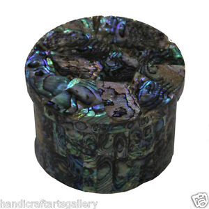 "3""x3"" Marble Storage Box Top Abalone Shell Inlay Stone Art Handmade Decors H587"