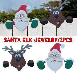 2pcs Santa Claus Red Nosed Reindeer Fence Peeker Peeper Garden Christmas Decor