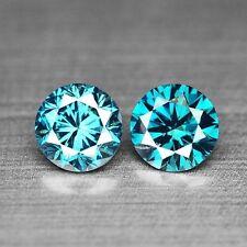 0.43 CTS 2PCS SPARKLING TOP QUALITY BLUE COLOR NATURAL DIAMOND REFER VIDOE