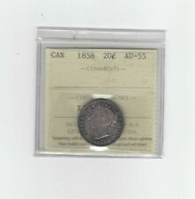 1858  ICCS Graded Canadian, 20 Cent, **AU-55**(Re-engraved 5, Not Noted)
