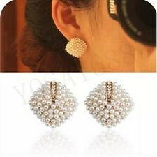 1pair earrings Beautiful Rhinestone Square Temperament Type Pearl Stud Earrings