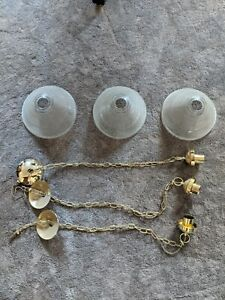 Vintage Gold Pendant Glass Light