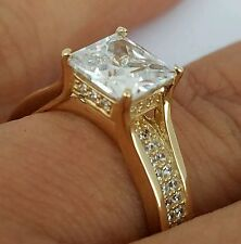 14k real Yellow Gold Princess Cut man made diamond Engagement Wedding  Ring S 7