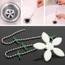 Kitchen Bathroom Shower Drain Wig Chain Cleaner Hair Clog Remover Cleaning Tools