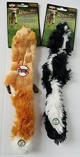 Plush Mini Skinneeez Stuffing Free Dog Toys Fox and Skunk (Set of 2)