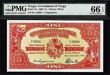 TONGA 1 POUND 1966 PMG 66 GEM UNCIRCULATED EPQ P 11e **THE BEST KNOWN EVER**RARE