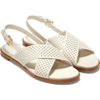 Cole Haan Womens Fernanda Grand Leather Perforated Slingback Sandals
