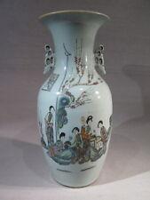 ANCIEN VASE PORCELAINE CHINE A DECOR PERSONNAGES FEMMES INSCRIPTIONS CARACTERES