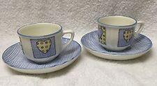 2 ITALY Demitasse Cups&Saucer set RG Richard Ginori Blue Heart 4oz Espresso EUC