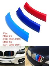 NEW M POWER LOGO KIDNEY GRILL 3D 3 COLOUR COVER ABS STRIPS BMW X5 E70 X6 E71 BMW
