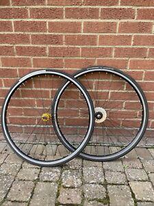 """700c / 28"""" Fixie bike gold Hubs Hjc Rims Front Rear wheels Tyres Road Bike 6 Spd"""