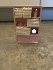 Miniature Doll house Size 1:12 Pink Wood Bathroom Linen Cabinet, Towels