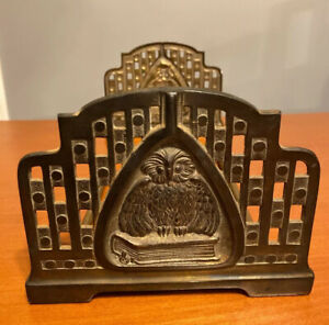 "Antique Judd Mfg Wise Owl Motif Bronze 22"" Book Rack Arts & Crafts Period 9821"