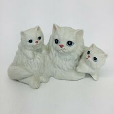 Vintage Homco White Longhair Cat With Kittens Figurine Porcelain