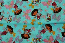 100 % Cotton fabric ~ Blue with Dora, monkeys & butterflies~ BTY