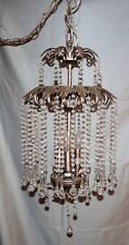 Italian Tole French Chandelier Swag Light Fixture Hollywood Regency Crystal