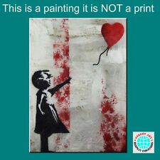 BANKSY RESPRAY (A REAL PAINTING!) FRAMED/GLOSSED 100cm x 75cm Balloon Girl