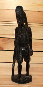 Vintage African hand carving wood woman figurine