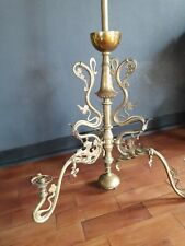 Ancien Lustre Art Nouveau laiton Antique French Jugendstil chandelier houx 1900