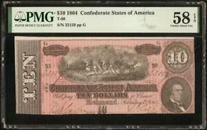 1864 $10 DOLLAR CONFEDERATE STATES CURRENCY CIVIL WAR NOTE MONEY T-68 PMG 58 EPQ