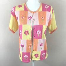 Mandal Bay Flower Pink Orange Embroidered Short Sleeve Knit Cardigan Size Small