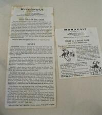 1961 Monopoly Paper Instructions Directions includes Rules for a Short Game-ORIG