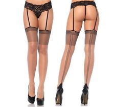Leg Avenue Strip Seam Stockings With Attached Lace Garter G-string. 20 Denier