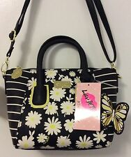 Betsey Johnson Crossbody Dome Black Yellow Floral Daisy Butterfly Purse Handbag